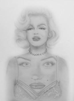 Marilyn au double visage - Crayon sur papier - 21 x 29,7 - 2015