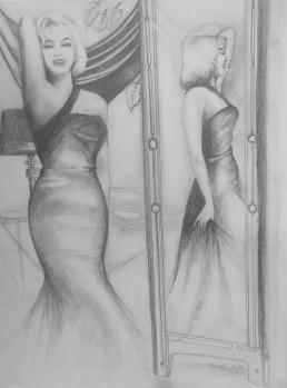 Marilyn au miroir - Crayon sur papier - 21 x 29,7 - 2015