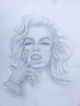 Marilyn - La main - Crayon sur papier - 21 x 29,7