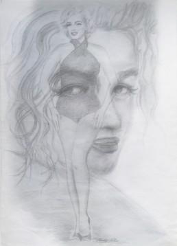 Marilyn, visage au maillot de bain - Dessin sur papier - 21 x 29,7 - 2015